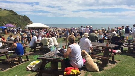 Branscombe beach was packed with visitors for free events as part of Branscombe Festival . Credit: T