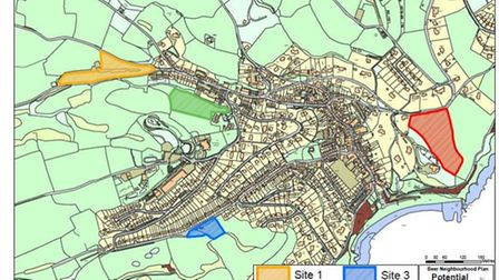 Site 1 (yellow): Land between Quarry Lane and Paizens Lane