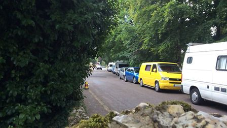 Campervans in Bickwell Valley during FolkWeek