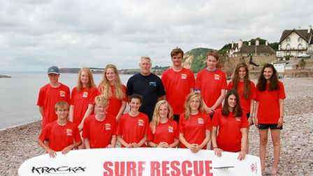 Dave Manley and graduate lifeguards of Sidmouth life saving club. shs 30-16TI 4663. Picture: Terry