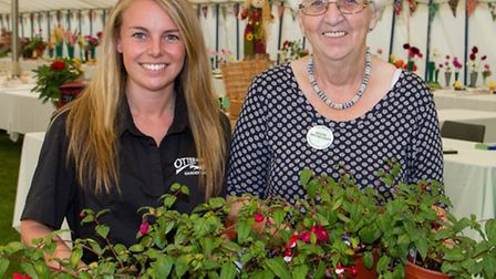 Sid valley horticultural show secetary Beryl Kingman with Sabine Taylor from Otter Nurseries. Ref sh