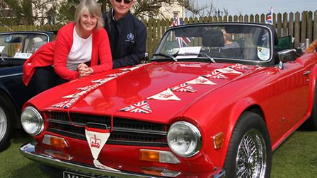 Derek and Barbara Hill from Sidmouth with their 1970 Triumph TR6 at the Classic car show in Sidmouth
