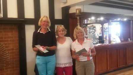 Runners up on Invitation Day Liz Chance, Lady Captain and Shirley Horsburgh from East Devon.