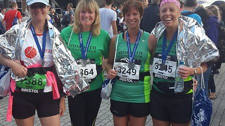 Sidmouth Running Club ladies' Jane Hemsworth, Becky Robson, Helen Palmer and Jo Earlam at the Bristo