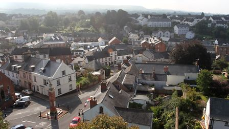 Views of the town from the roof of the bell tower of Ottery St Mary parish church. Ref sho 1447-39-1
