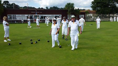 Sidmouth bowlers and the Crown Green effort on Monday