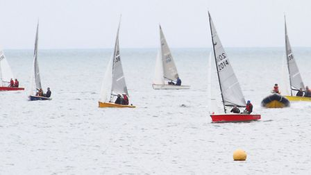 Scorpion racing off Sidmouth on Sunday. Ref shsp 26-16SH 9945. Picture: Simon Horn.