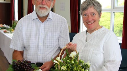 St Francis Church flower show. Show director, Liz Harris, with last year's director, Bruce Harcourt.