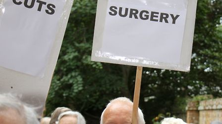 A protest was held at the Sidmouth surgery. Ref shs 38-16TI 8084. Picture: Terry Ife