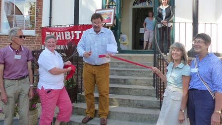 The ribbon is cut at the launch of Sidmouth Walking Festival. Picture: contributed