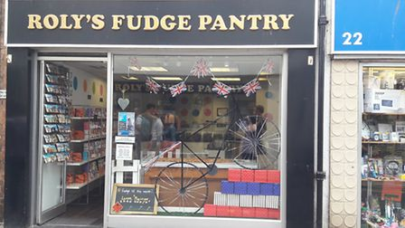 Roly's Fudge Pantry is one of many businesses to decorate its shop front for the Tour of Britain.