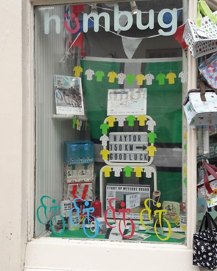Humbug have put up a colourful window in honour of the Tour of Britain.