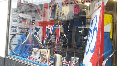 Shops around Sidmouth have put up displays in honour of the Tour of Britain. Here is Hopsiscare's di