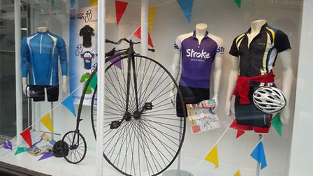 Shops around Sidmouth have put up displays in honour of the Tour of Britain.Fields have chosen a cyc