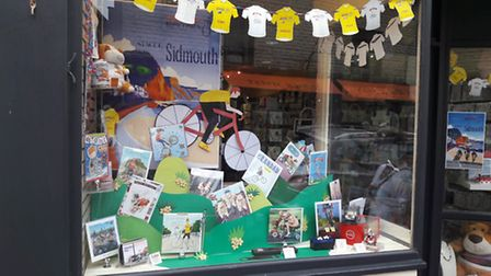 Shops around Sidmouth have put up displays in honour of the Tour of Britain. Here is Coles's display