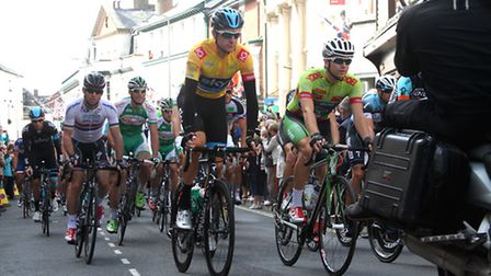 Bradley Wiggins leads the field away at the start of 2013's Devon stage of the Tour of Britain in Si