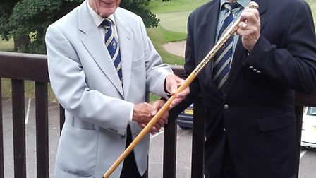 Hugh Dorliac receives the Walking Stick