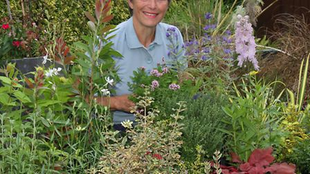 Lynette Talbot is pictured among some of the plants which will form the RHS sponsored Sensory Garden