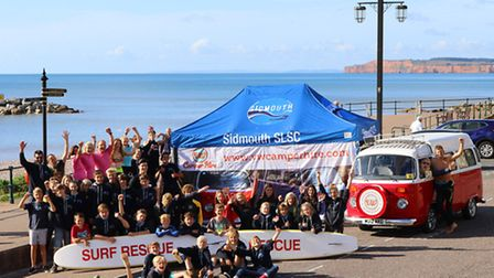 Sidmouth SLSC with one of their sponsors, VW Camper Hire. Picture by Simon Horn LRPS. Ref sslsc camp