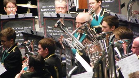 Sidmouth Town Band in action in the final of the national brass band championships