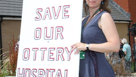 Councillor Claire Wright protesting for Ottery Hospital. Ref sho 4601-29-15SH. Picture: Simon Horn