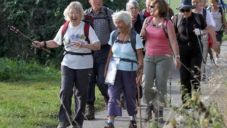 Walkers set off for their final trek of the Sidmouth Walking Festival in 2014. Ref shs 6125-40-14AW.