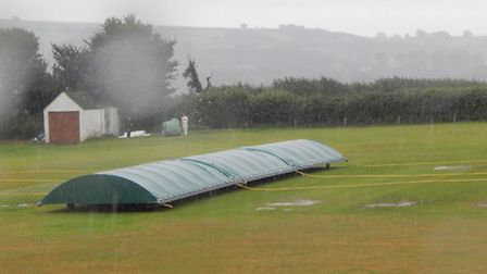 A wet cricket ground on the final Saturday of the 2016 Tolchards Devon Cricket League campaign