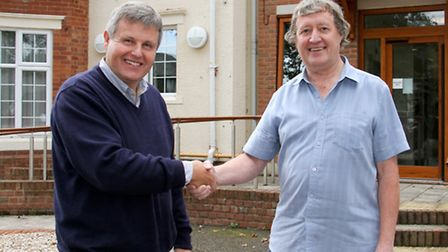 Alan Darrant outside Abbeyfield's Culver House with the new treasurer Mike Gunn. Ref shs 38-16TI 816