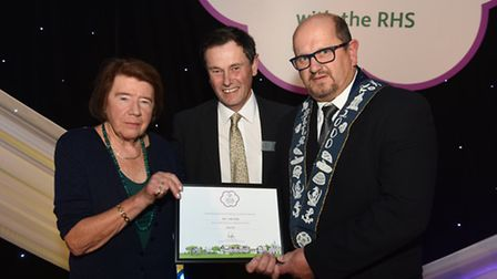 Ursula Makepeace with Roger Burnett and Councillor Martin Richard at the Britain in Bloom awards