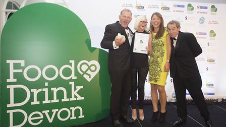 Simon and Suzi Bryon-Edmond of Chunk of Devon collect their awards from Sharon Mann and Nigel Barden