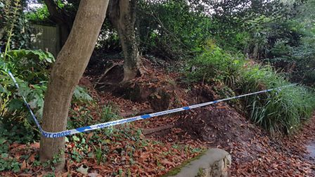 The badger sett was cordoned off with police tape