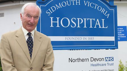 Comforts Fund chairman Graham Vincent outside Sidmouth Victoria Hospital. Ref shs 24-16SH 8431. Pict