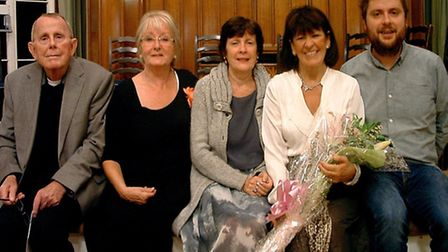 Publisher Beverley Raw with Sophie Beardmore's dad Alan, mum Judy, step-mother Christine, and half-b