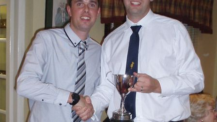 Dan Flower receives the Ottery St Mary CC1st XI batting award