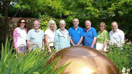 South West in Bloom judge Brenda Wright with Beer Horticultural Socirty members,staff from Pecorama