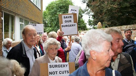 A protest was held at the Sidmouth surgery. Ref shs 38-16TI 8075. Picture: Terry Ife