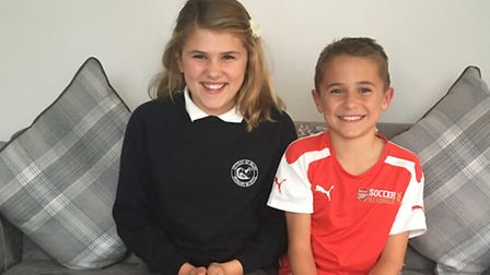 Millie Gething, 10, with her brother Ryley, eight, will be swimming 100 lengths in one hour for Otte