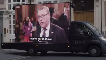 A clip of Mark Francois is played outside Tory Party HQ. Photograph: Twitter.
