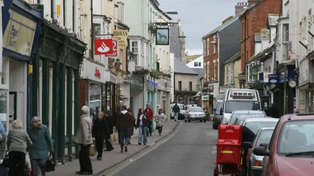 Stock photo of Sidmouth's Fore Street. Picture by Alex Walton. Ref shs 7217-08-08AW