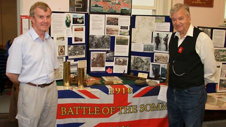Richard Scott and Mervyn Tims at the Somme exhibition in Beer Congregation Church. Ref shb 27-16TI 3