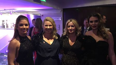Naomi Thomas (second from left) rubbed shoulders with the stars including actress Nikki Sanderson (l