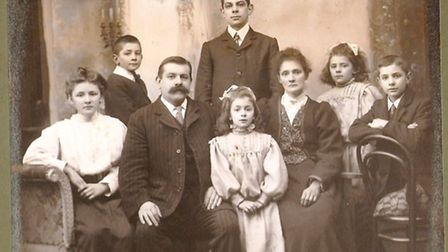 The Oldrey family, taken in Sidmouth. Garnett is sat on the right.