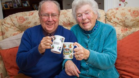 Dave and Ros Hancock at home with a cup of coffee before their their final coffee morning event. Ref
