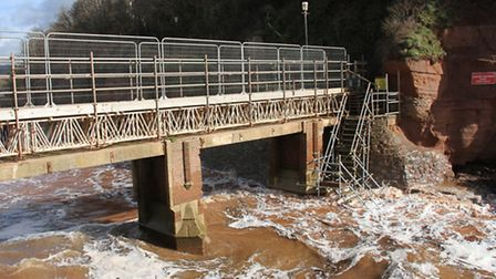 Waves washed up past Alma Bridge earlier this year. Ref shs 13-16SH 9371. Picture: Simon Horn