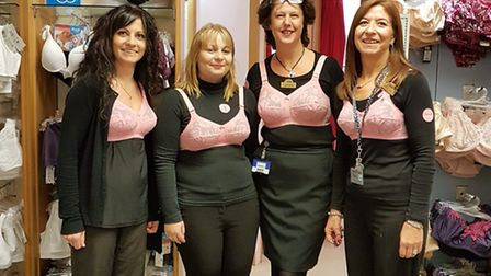 Louise Sowerbutts, Emily Rice, Angela Raymont and Kerry Ford from Fields of Sidmouth's lingerie depa