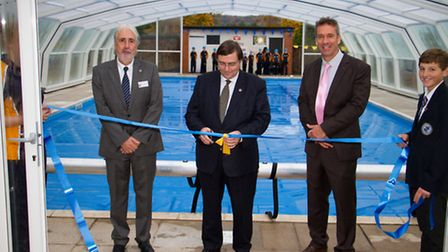 Dr Jorge Segovia opens the new swimming pool at St Johns School. Ref shh 44-16TI 1347. Picture: Terr