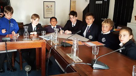 Pupils working on the Neighbourhood Plan surveys aimed at youngsters