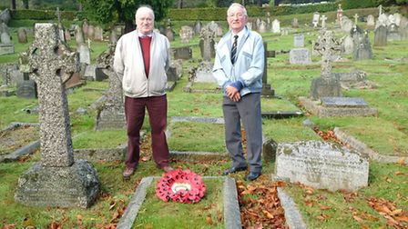 Robin Laird and Dave O'Connor at the grave of Charles Graham Swann