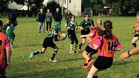 Sidmouth Under-13 girl's in action