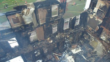 Exeter's Royal Clarence Hotel, destroyed by fire. Picture by D&C Police Drones
